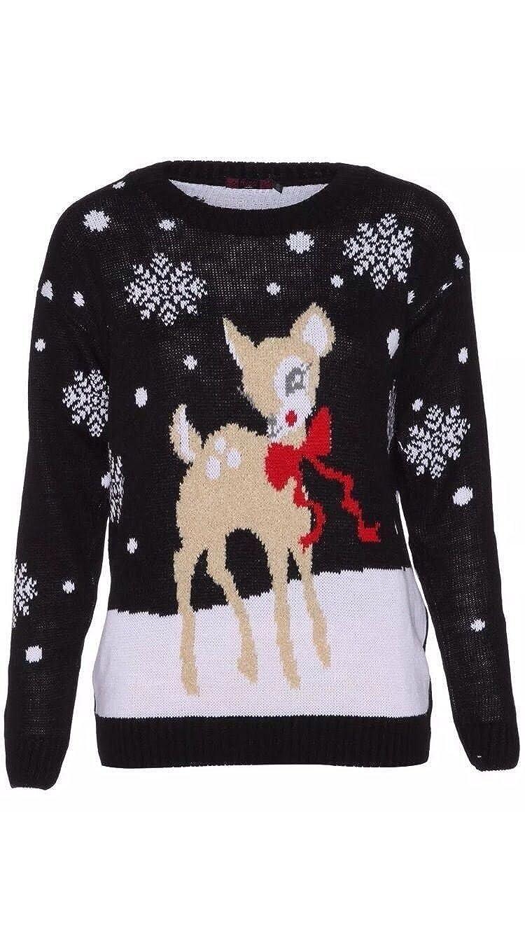 NewWomens Ladies Bambi Baby Deer Print Christmas Knitted Xmas Jumper Top UK 8-26