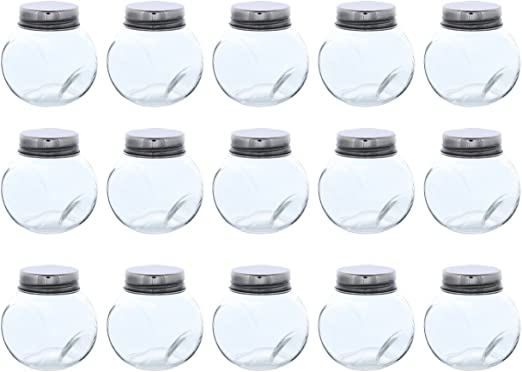 1.7-Ounce Party Favors DIY Clear Glass Bottles with Cork Lids- 15-Pack of Mini Transparent Squared Jars with Stoppers for Vintage Wedding Decoration Home