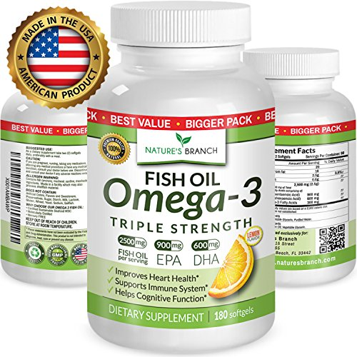 Fish Oil Lemon Flavor - BEST TRIPLE STRENGTH Omega 3 Fish Oil Pills ★ 180 Capsules ★ 2500mg HIGH POTENCY Lemon Flavor 900mg EPA 600mg DHA Pure Burpless Liquid Capsules Brain Joints Eyes Heart Health Supplement