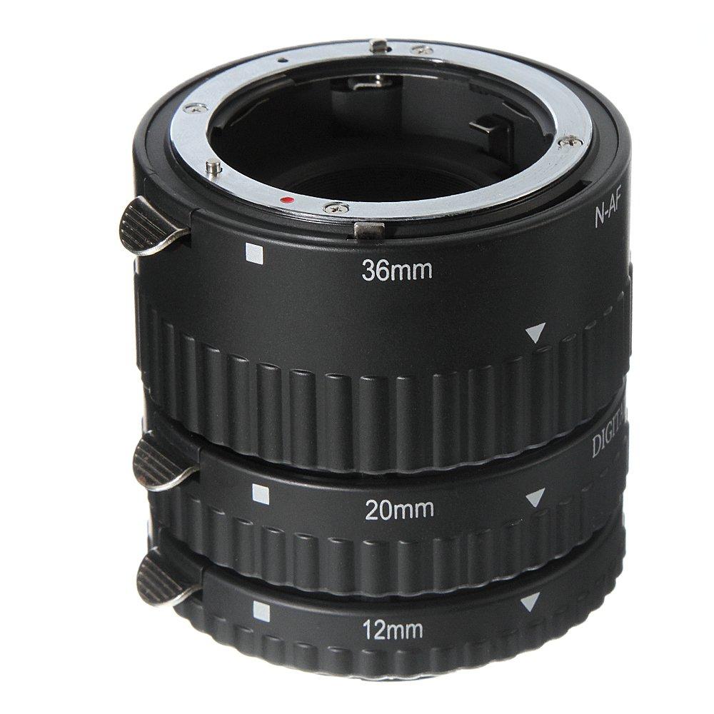 FocusFoto Automatic Electronic Auto Focus AF Macro Extension Tube 3-Ring Set 12+20+36mm for Nikon AF AF-S DX FX Lens DSLR Camera by FocusFoto
