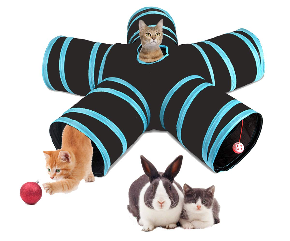 ETOTOO Cat Tunnel 5 Way, Collapsible Pet Play Tube with Ball and Storage Bag for Kittens, Puppy, Rabbits, Guinea Pig by ETOTOO