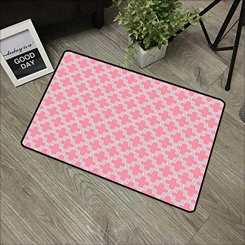 (Restaurant mat W35 x L47 INCH Quatrefoil,Old Architectural Mosaic Pattern White Ornate Curves Entwined on Pink Backdrop,Pink White Easy to Clean, no Deformation, no Fading Non-Slip Door Mat Carpet)
