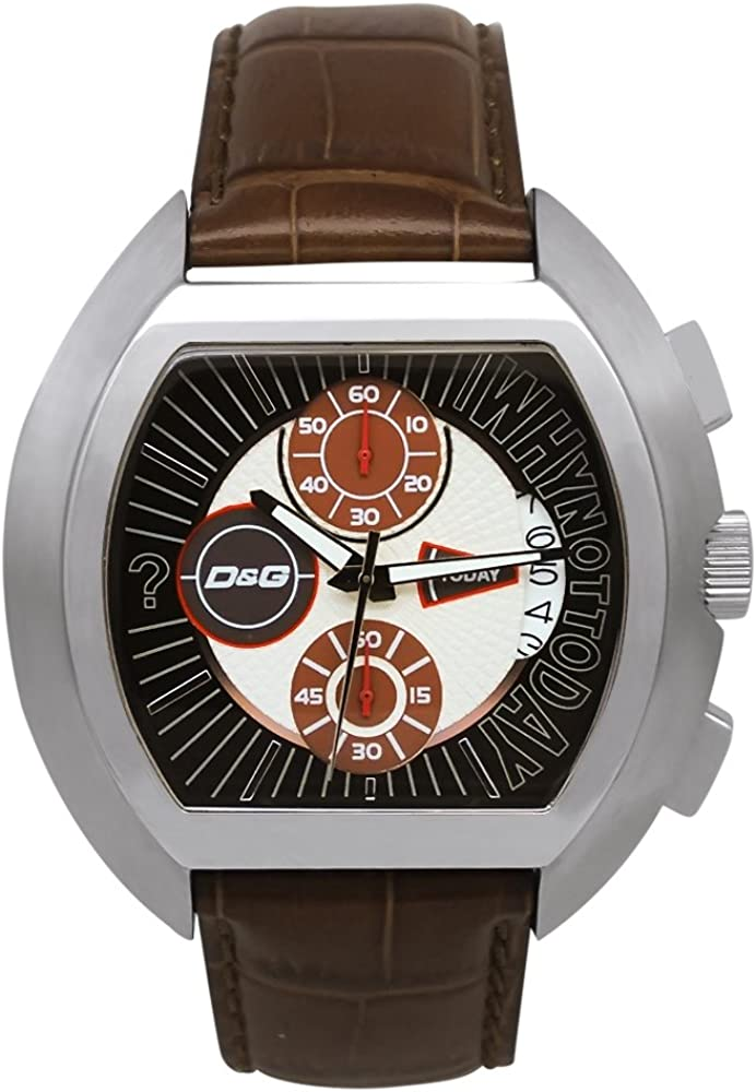 D&G Dolce&Gabbana DW0213 - Reloj cronógrafo de caballero de cuarzo con correa de piel marrón (cronómetro) - sumergible a 50 metros