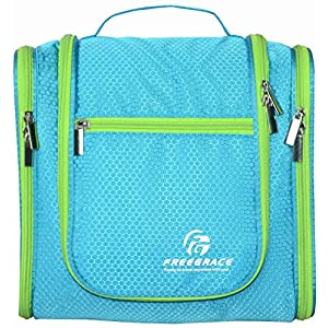 Hanging Toiletry Bag By Freegrace -Premium Large Travel Essentials Organizer -Durable Metal Hook - For Men & Women -Perfect For Accessories, Cosmetics, Personal Items, Shampoo, Body Wash (Aquamarine)