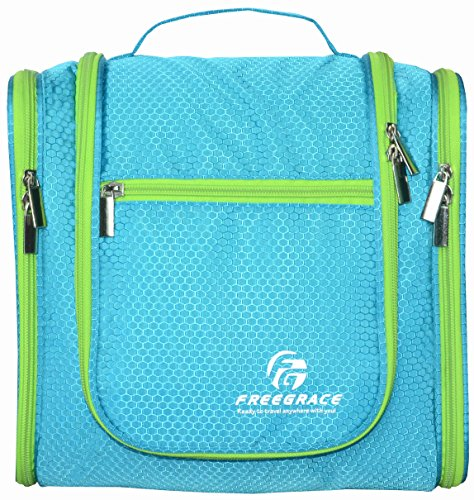 Hanging Toiletry Bag By Freegrace -Premium Large Travel Essentials Organizer -Durable Metal Hook - For Men & Women -Perfect For Accessories, Cosmetics, Personal Items, Shampoo, Body Wash (Aquamarine) -