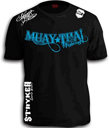 Amazon.com: Muay Thai Fighting Blue White Logos Black MMA UFC ...