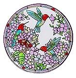 Evergreen Inspired Floral Glass Birdbath, 18 inches