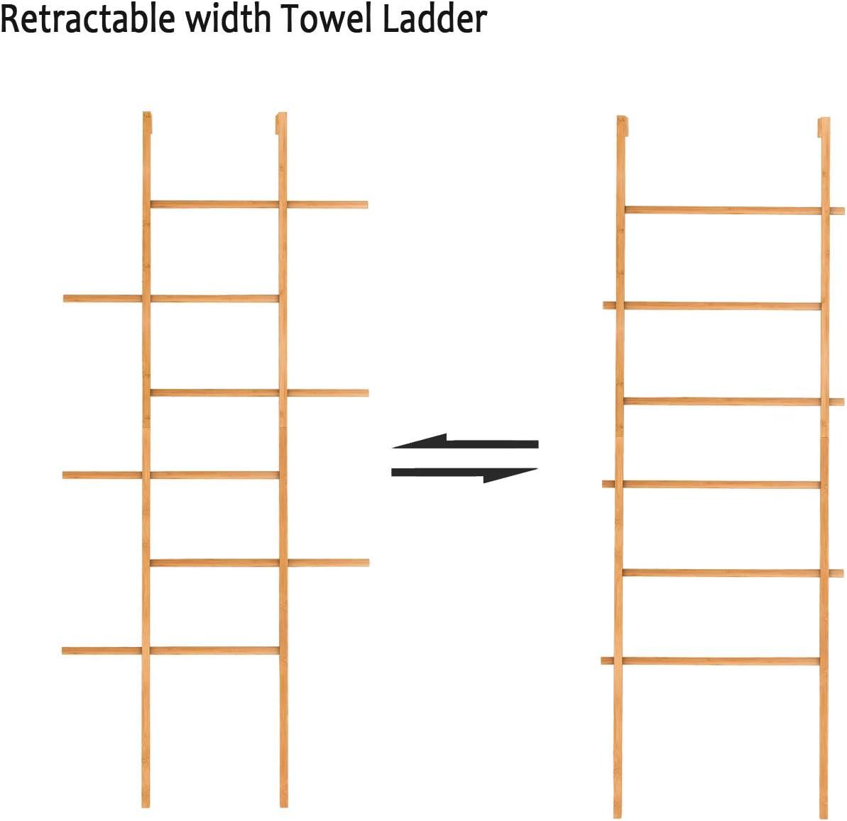 Handtuchleiter Kleiderleiter Holzleiter Deko Einstellbare Breite mit 6 Sprossen aus Bambus 60x45x180cm