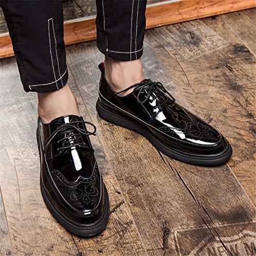 Black Dimensione EU Scarpe Jiuyue shoes 2018 stringate Pelle da uomo Uomo basse Patent con Color Scarpe 37 piatte bretelle Marrone qq1ZHw
