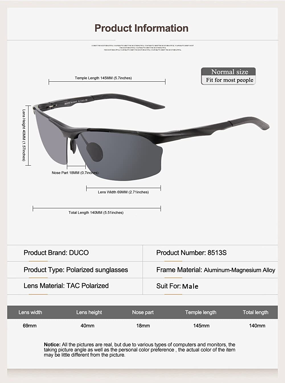 Duco Polarized Unbreakable Sunglasses 100/% UV400 Protection Eyewear Sunglasses for Men and Women Shades 8513S