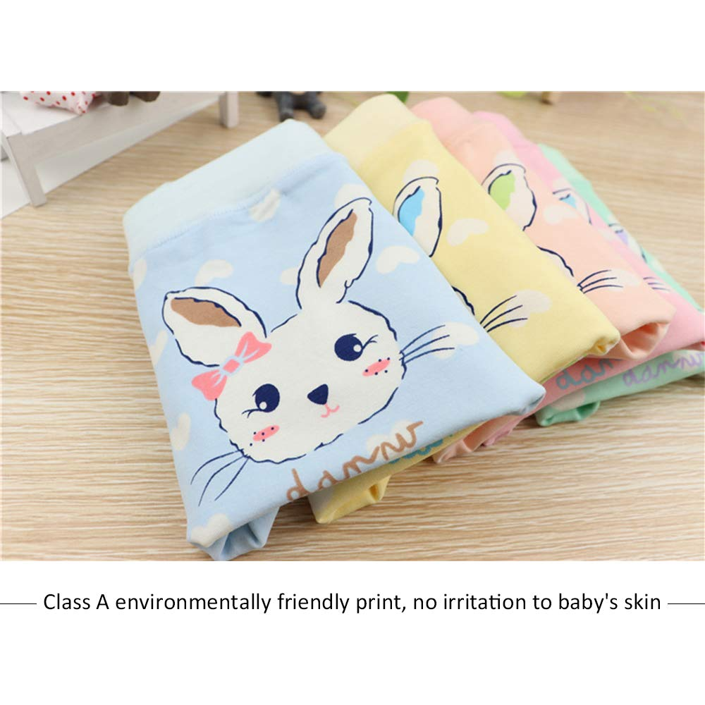 5 Pack Cotton Boyshorts Lovely Bunny Print Boxers Briefs Underwear Size 1-10 Years BOZEVON Girl Knickers