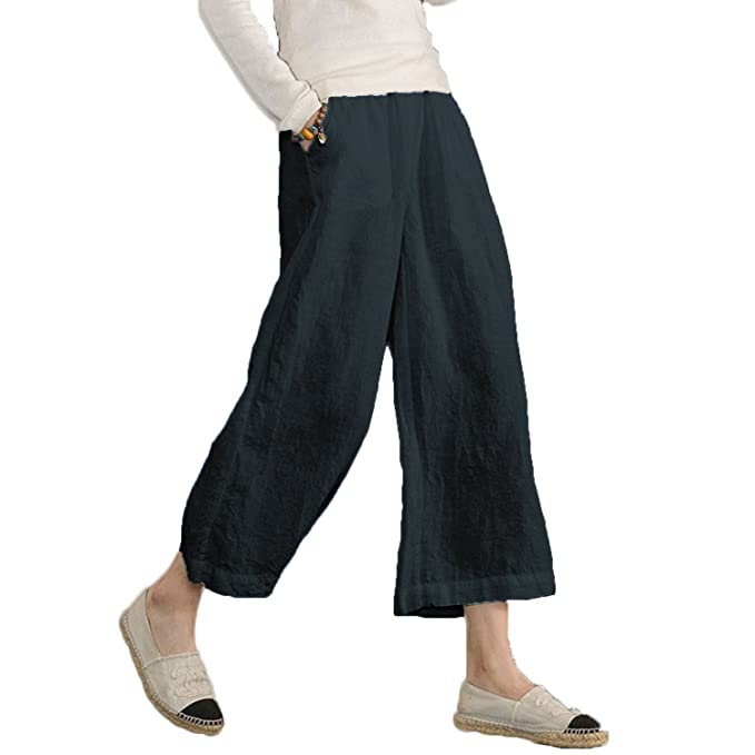 1b3ab65cd6a Ecupper Ladies Plus Size High Waisted Cotton Pants Relaxed Wide Leg Cropped  Leisure Trousers Dark Blue