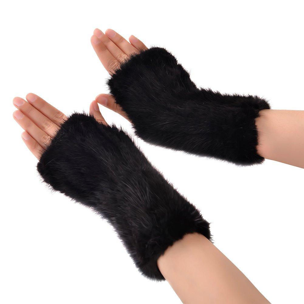 Mink Fur Fingerless Mitten - Women Real Fur Gloves Winter Warm Gloves (Coffee) QFGM0001C