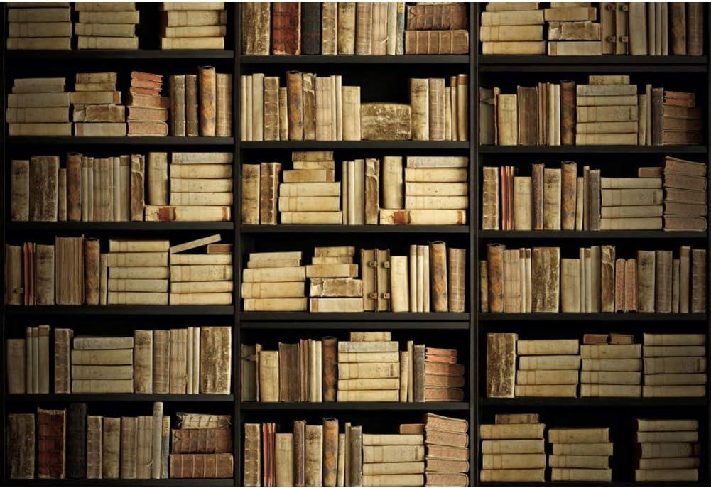 YEELE 12x8ft Old Vintage Bookshelf Backdrop Photography Aged Books on Library Retro Bookcase Background Back to School Theme Ancient Encyclopedia Wedding Kids Adults Portrait Photoshoot Studio Prop