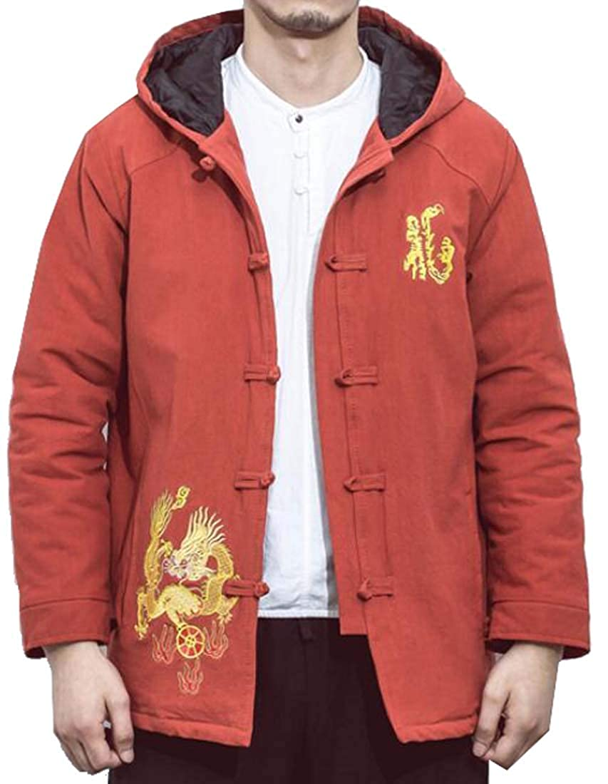 MOUTEN Mens Winter Hoodie Chinese Style Embroidery Down Quilted Jacket Coat Outwear