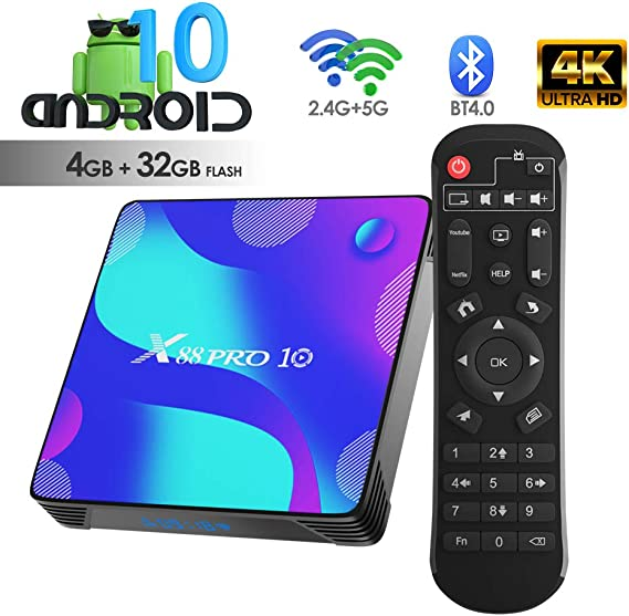 Android TV Box, X10 Android 10.0 Smart Box 4GB RAM 32GB ROM RK3318 Quad-Core 64bit Cortex-A53 Soporte 2.4GHz/ 5GHz WiFi 4K UHD BT4.0: Amazon.es: Electrónica