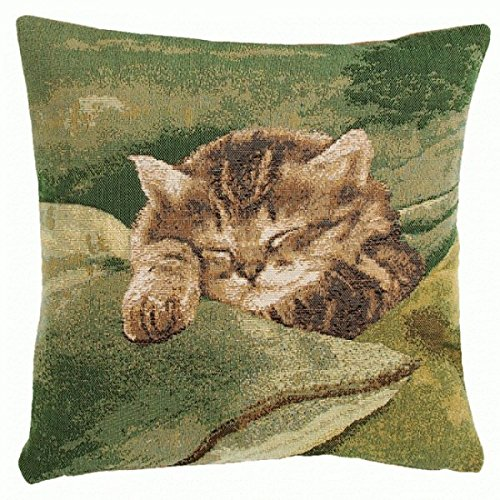 Jacquard woven French tapestry, Sleeping Cat Green. 14 x 14