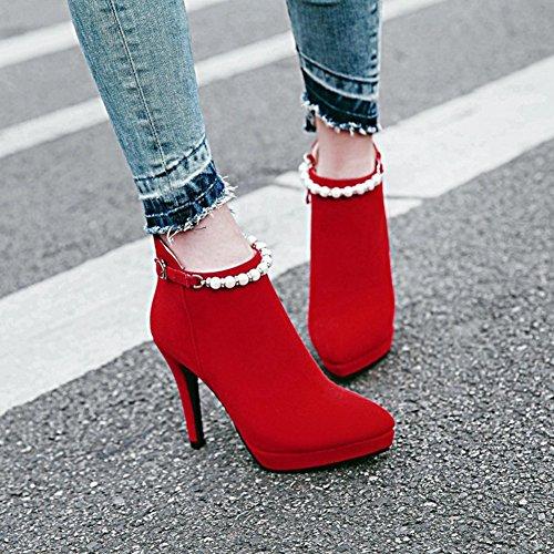 Aisun Damen Sexy Spitz Zehen Stiletto Perlen Riemchen High Heels Knöchelhoher Chelsea Stiefel Rot