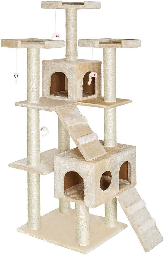 TecTake rascador para Gatos árbol para Gatos sisal Juguetes 186cm (Beige | no. 400524): Amazon.es: Hogar
