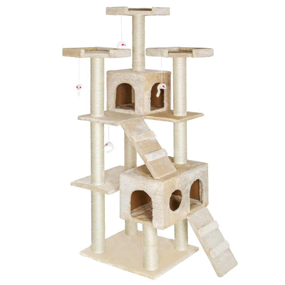 Beige TecTake Cat Scratcher Activity Center High Quality Cat tree Knuti beige 186cm height Column (sisal) diameter approx. 8 cm