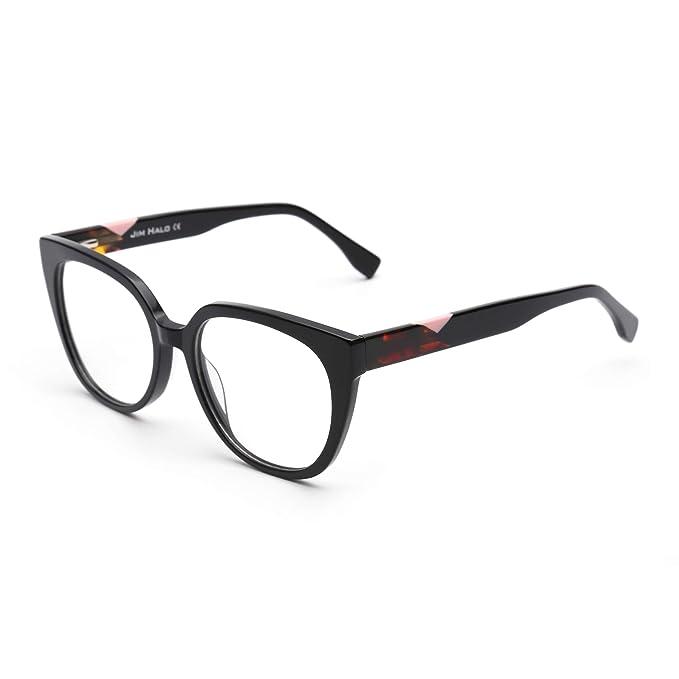 b9077d1b993a JIM HALO Oversized Non-Prescription Glasses Spring Hinge Eyeglasses Women  Men Black  Amazon.co.uk  Clothing