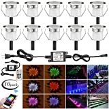 LED Step Lighting Kits, FVTLED 10pcs Φ1.18'' WiFi Wireless Smart Phone Control Low Voltage LED Deck Light Waterproof Outdoor Decor Recessed RGB Lamps Compatible with Alexa Google Home