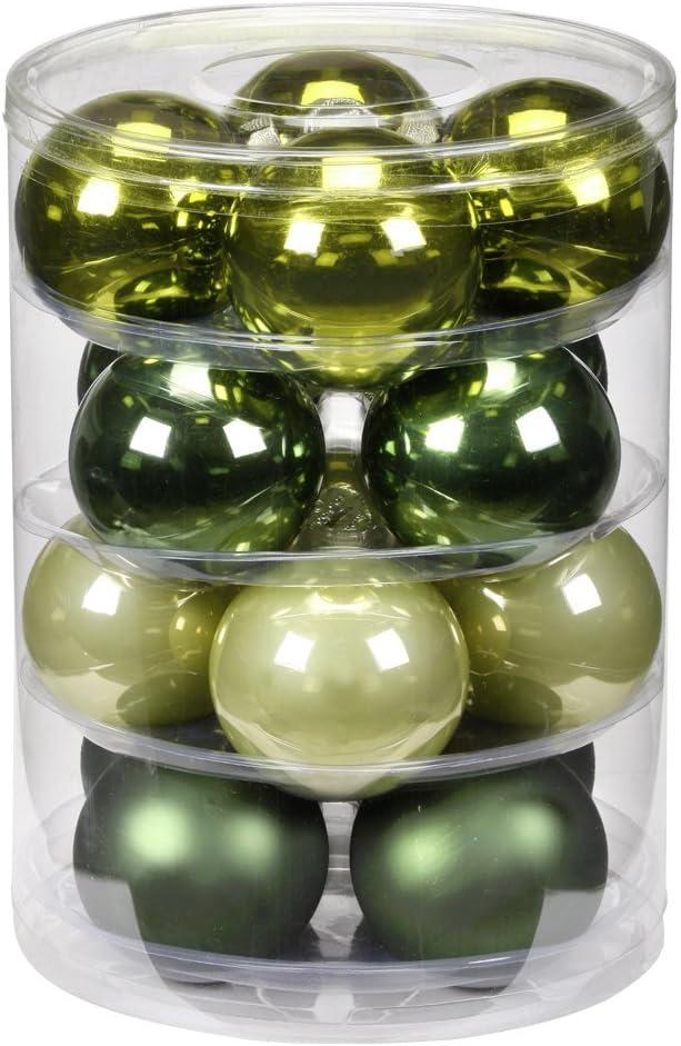 Inge-glas 1782D004 Lot de 16 Boules de No/ël Vert 75 mm