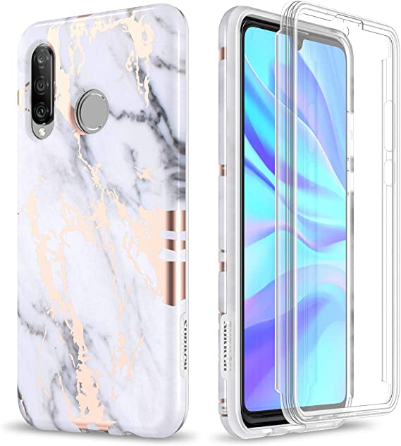 SURITCH Coque pour Huawei P30 Lite avec protection d'écran intégrée en marbre or rose résistant aux chocs et coque de protection intégrale pour Huawei ...