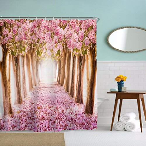 A.Monamour Spring Season Pink Cherry Blossom Trees Fallen Flowers Deep Long Path Road Picture Print Bathroom Décor Fabric Polyester Waterproof Shower Curtain 150X180 Cm / 60