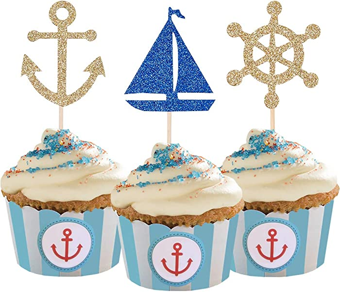 24 Pcs Nautical Theme Glitter Cupcake Picks Cupcake Toppers Food Fruit Picks for Decoration Party Favors, Nautical, 0.06LB
