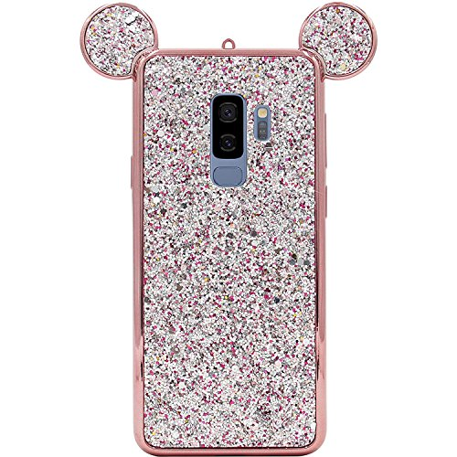 Rhinestone Mouse Ears Cover by Tech Express for Samsung Galaxy S9 or S9+ Chrome Bumper Bling [Flexible TPU Case] Sparkle Glitter Diamond Shimmering Cartoon Character Case (Rose Gold, S9+ Plus)