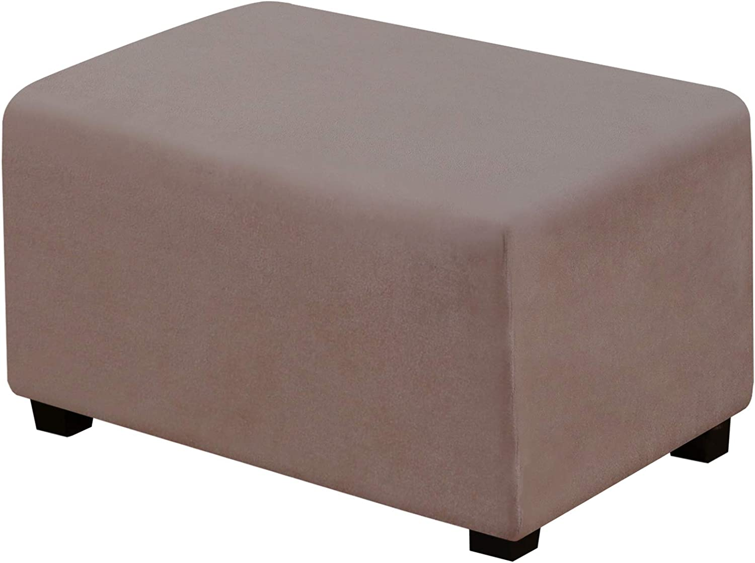 Suede Ottoman Cover Ottoman Slipcovers Removable Footstool Protector Velvet Plush 1 Piece Water Repellent Furniture Protector with Elastic Bottom, Machine Washable(Ottoman X-Large, Taupe)