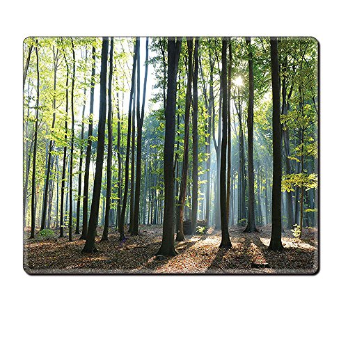 Price comparison product image Mouse Pad Unique Custom Printed Mousepad Farm House Decor Collection Sunbeams Rays Shadows Morning Rising Sun Decorative Serenity Picture Print Green Brown Stitched Edge Non Slip Rubber