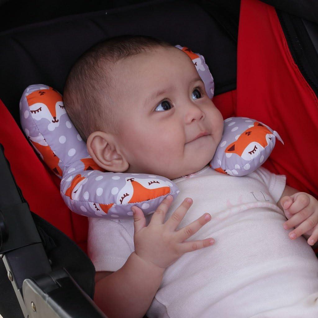 grau vocheer Baby-Reisekissen f/ür 0-1 Jahre altes Baby Baby-Kopf- und Nackenst/ützkissen f/ür Autositz Neugeborenen-Kinderwagen-Autositz-Einsatzkissen