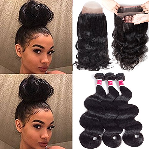 Wigirl Hair 8A Grade 360 Lace Frontal Closure With Bundles Brazilian Body Wave Virgin Hair Bundles With 360 Lace Frontal Unprocessed Human Hair With Frontal (16 18 20 With 14) by Wigirl Hair