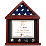 Flag Display Case Military Shadow Box for 3x5 Ft Folded Flag with Certificate Holder Frame and Felt Lining for Army Navy Air