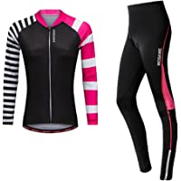 Dolity Womens Cycling Jersey and Gel Padded Compression Pants Tights Set Outfit, Girls Mountain Road Bike Riding Clothes…