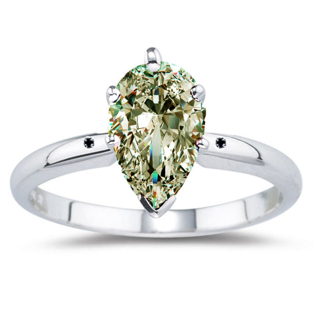 RINGJEWEL 4.18 ct VS1 Pear Moissanite Engagement Silver Plated Ring Off White Color Size 7