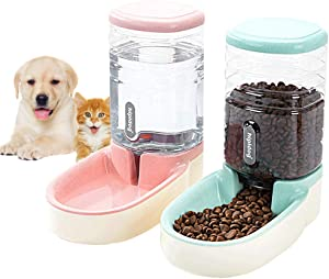 Lucky-M Pets Automatic Feeder and Waterer Set,Dogs Cats Food Feeder and Water Dispenser 3.8L,2 in 1 Cat Food Water Dispensers for Small Medium Big Pets (Pink+Green)