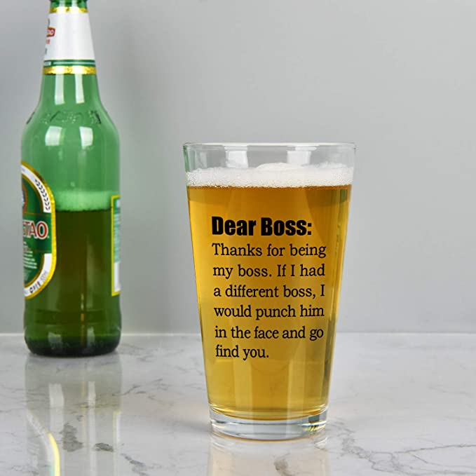 Ideal for Men Bosses Mangers Husband Brother Father Christmas Job Leaving Boss Beer Pint Glass Dear Boss Thanks for Being My Boss Beer Pint Glass for Bosses Day