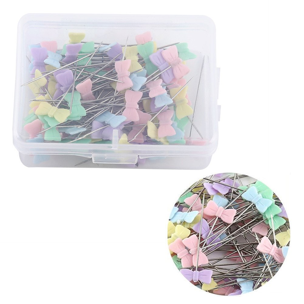 100Pcs Quilting Pins Flat Head, 3.9-5cm Long Flower Head Sewing Patchwork Pins Quilting Supplies(Button Head) Walfront