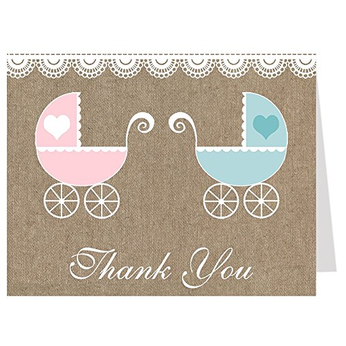 Baby Shower Thank You Cards, Burlap Design, Twins, Pink, Blue, Burlap Carriage, Rustic, Lace, Set of 50 Folding Notes with White - Carriage Lace