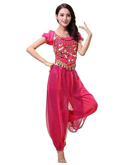 Grouptap Conjunto de Traje de Traje de 2 Piezas de Danza del Vientre de Bollywood, Tema de Princesa India, para Mujeres con Top y Pantalones ...