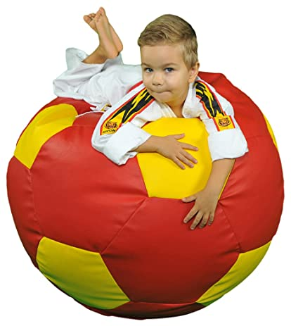 Turbo BeanBags Soccer Ball Multicolor Bean Bag Chair, Large, Red/Yellow