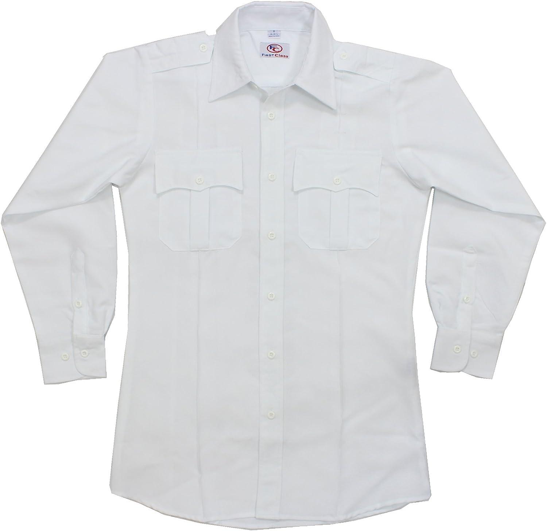 First Class 100% poliéster manga larga camisa uniforme blanco