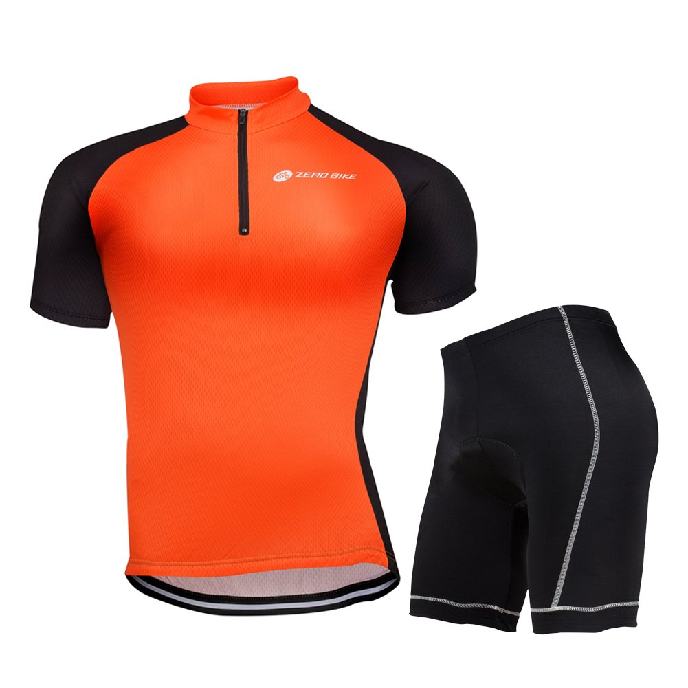 ZEROBIKE® Men Cycling Jersey Short Sleeve Jersey Jacket Comfortable Breathable Shirts Tops 3D Cushion Padded Shorts Tights Pants Sportswear Suit Set Breathable Quick Dry karru