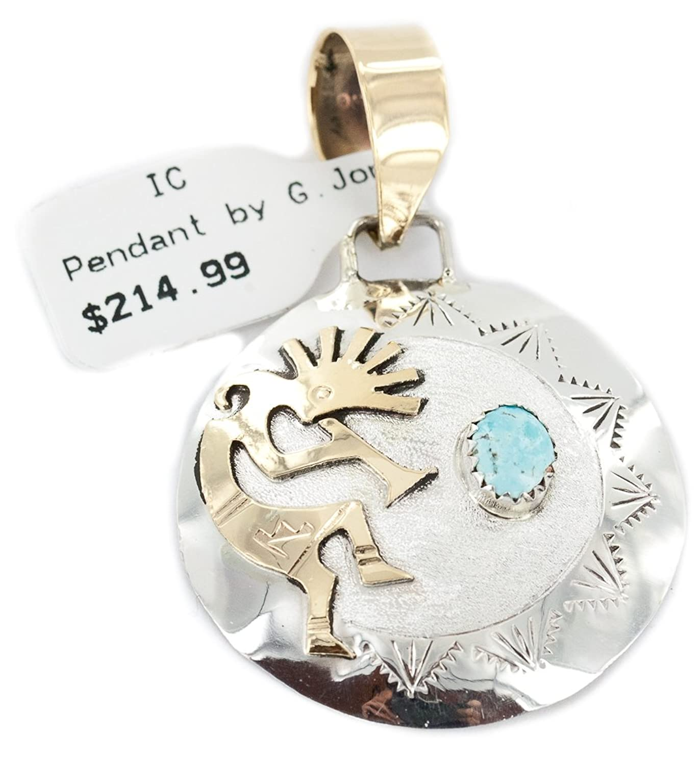 Very Delicate $215 Retail Tag 12kt Gold Filled and Silver Authentic Kokopelli Handmade Made by Genevieve Jones Navajo Natural Turquoise Native American Pendant