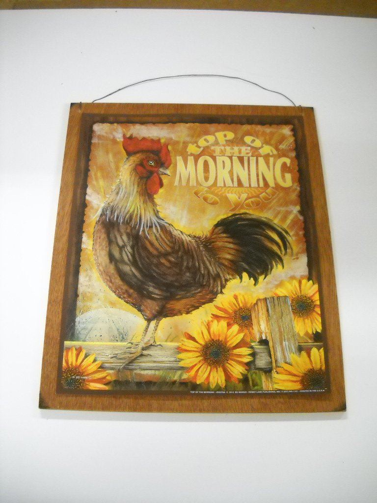 Top of the Morning Rooster Sunflowers Kitchen Wooden Wall Art Sign Farm Country