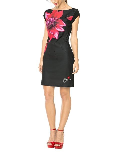 Desigual VEST_ISLA REP - Vestido de Mujer, color Negro (Negro), talla 44: Amazon.es: Ropa y accesorios