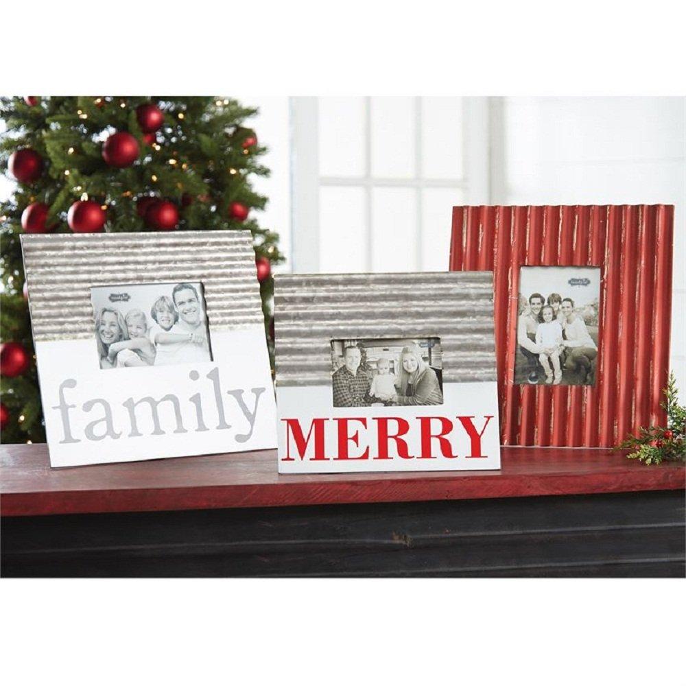 Mud Pie Farmhouse Merry Corrugate 4 x 6 Tin Picture Frame 10 x 10.75 Red//White//Silver